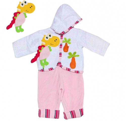 Temiz Baby Dinazor Aplikeli Welsoft Hırkalı Bebe Takım