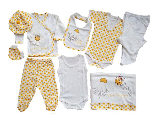 WORLDLIFE Papatyalı 10'lu Bebe Zıbın Seti