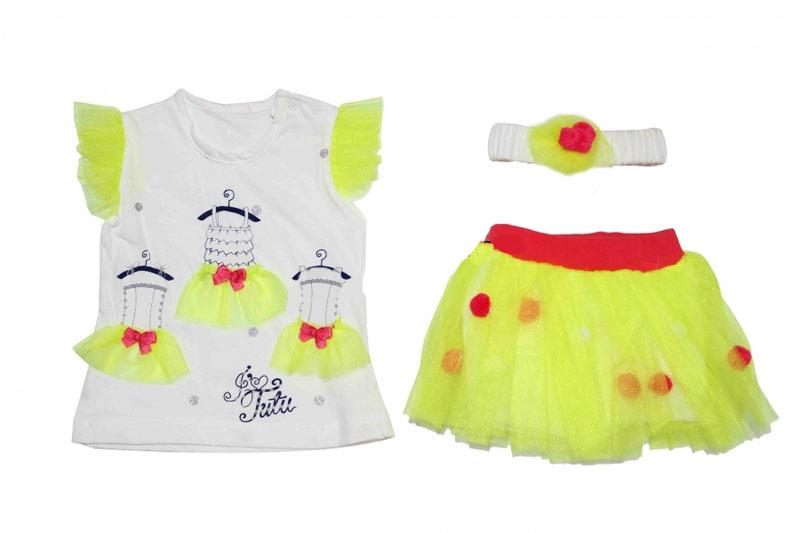 Minidon Fosforlu Renkli Tüllü Penye Bebe Takım