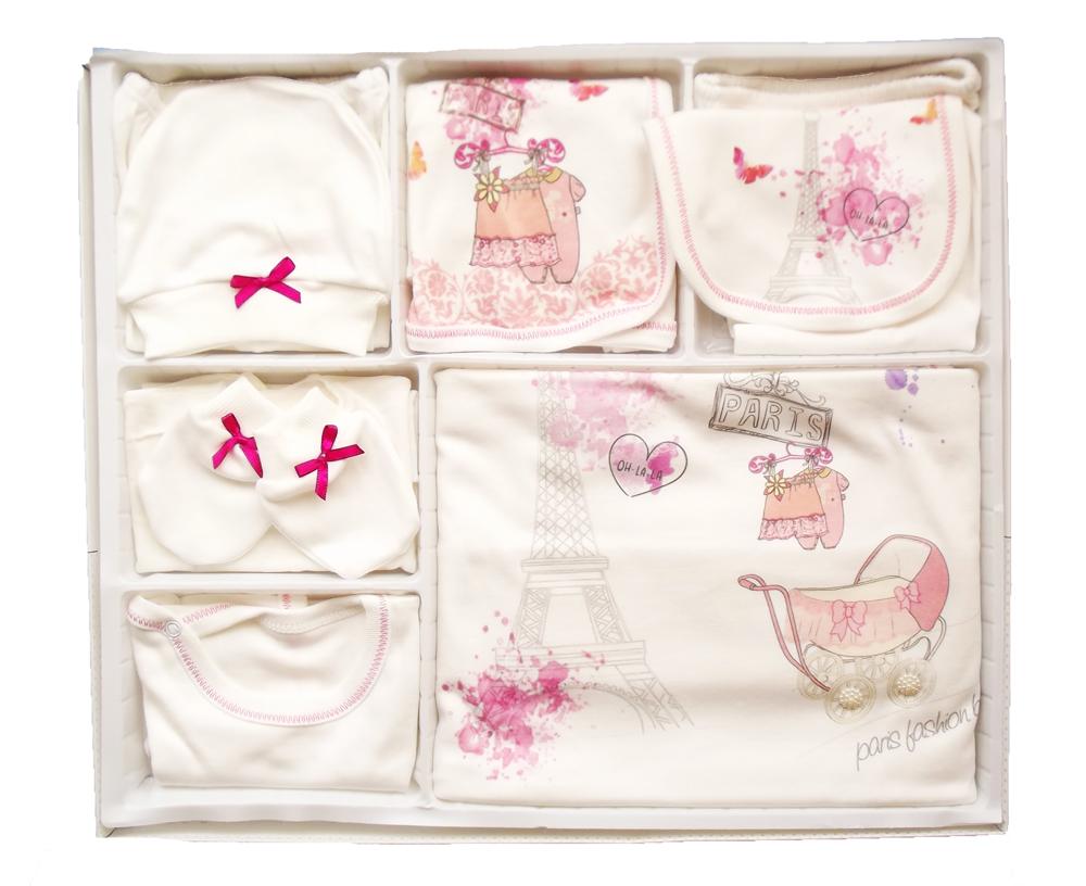 Mikilino Paris Baskılı 10 Parça Bebe Zıbın Seti