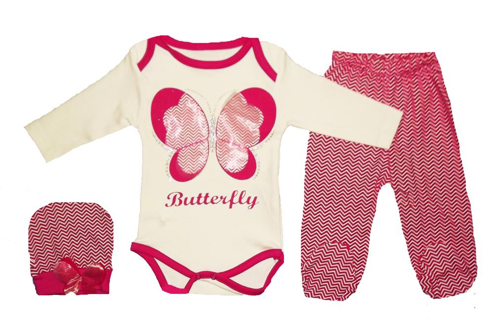 Kelebek Baskılı Badili Bebe Takımı