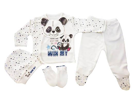 Sevnur Panda Baskılı 5'li Bebe Zıbın