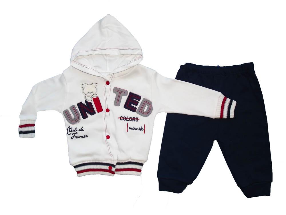 MİNNİK United Nakışlı Hırkalı Bebe Takımı