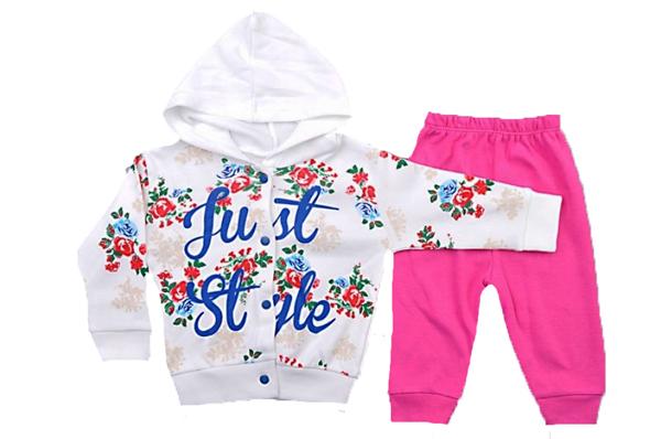Çiçek Baskılı Hırkalı Bebe Takımı