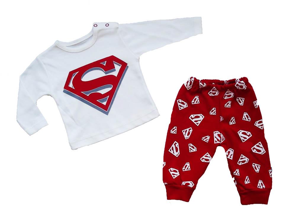 Bebeci Süper Güç Baskılı Bebe Penye Pijama Takımı