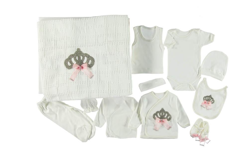 Donino Kraliçe Taşlı Triko Battaniyeli 11'li Zıbın Seti