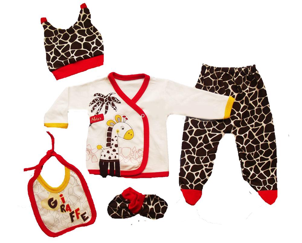 Mikilino Zürafa Aplikeli 5 Parça Bebe Zıbın