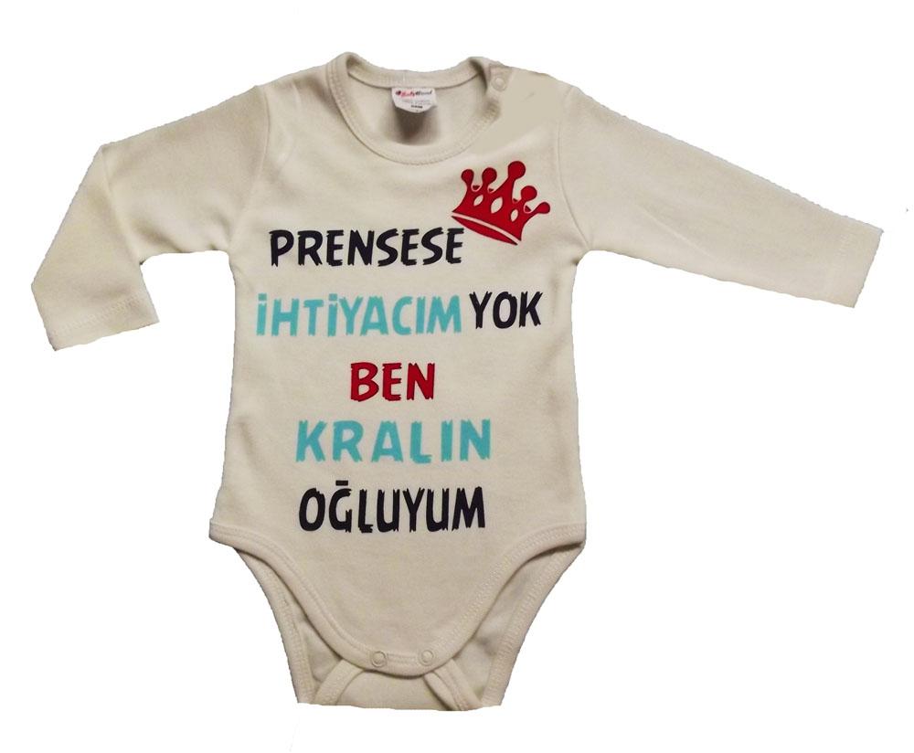 BABY WOOD Kralın Oğluyum Uzun Kollu Bebe Badi