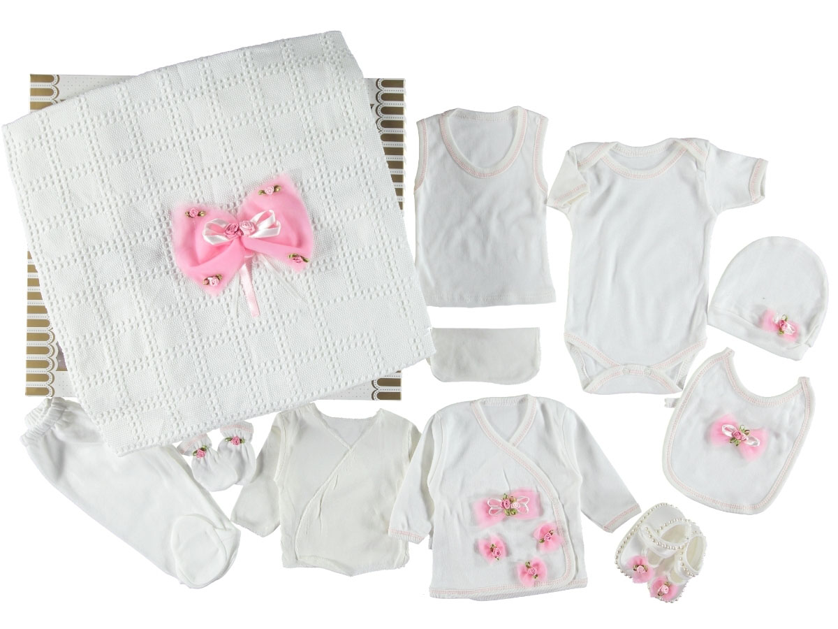 Bebeci Fiyonk Süslemeli 11 Parça Bebe Zıbın Seti