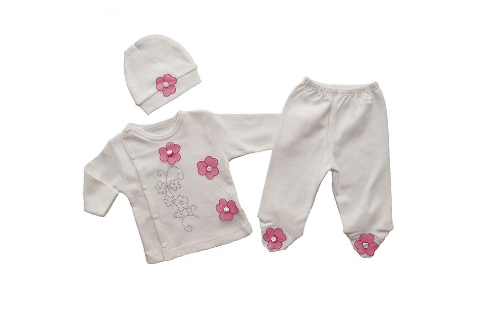 Bebeci Çiçekli Zarif 3 Parça Zıbın