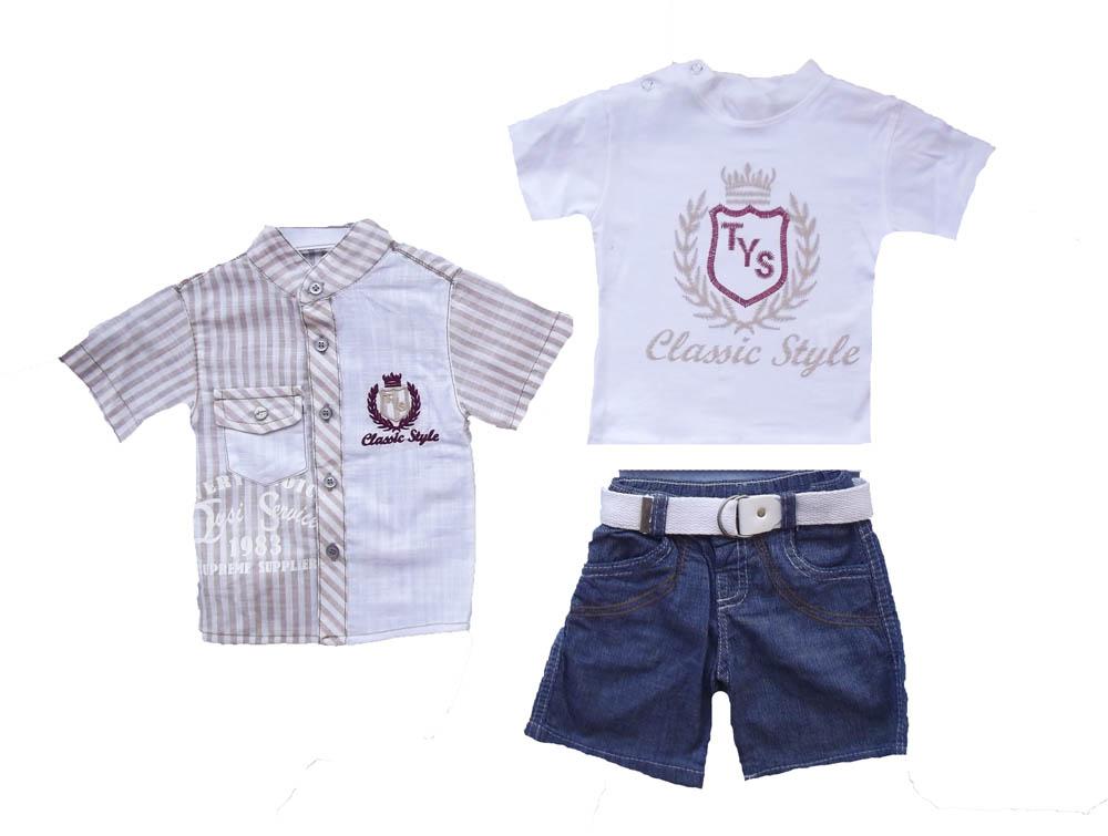 Çizgili Gömlekli 3'lü Erkek Bebe Takımı