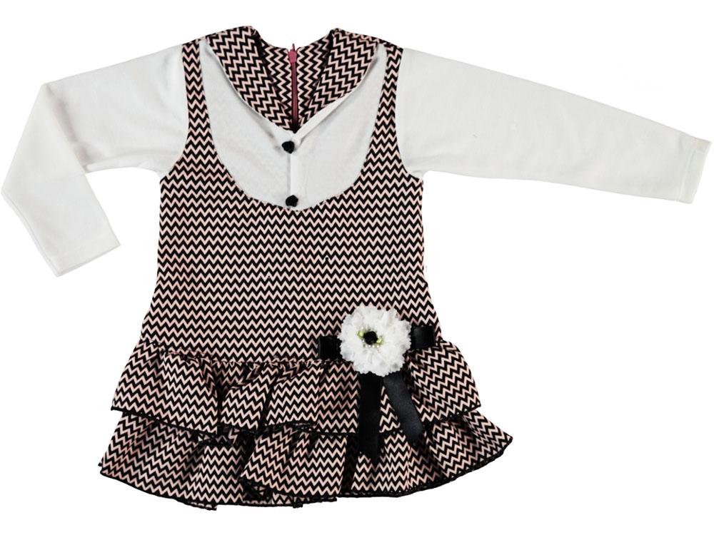Yakalı Kat Kat Etekli Kız Elbise