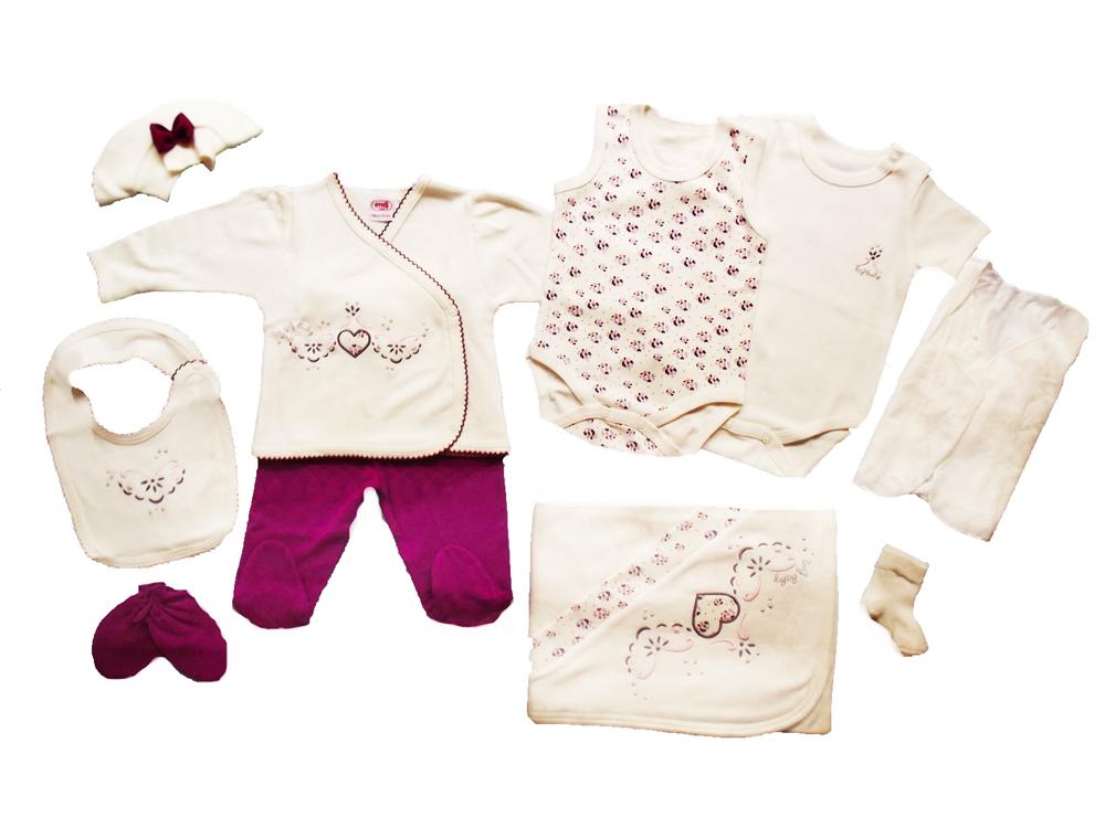 İmaj Kroşetalı Kalpli 10'lu Bebe Zıbın Seti