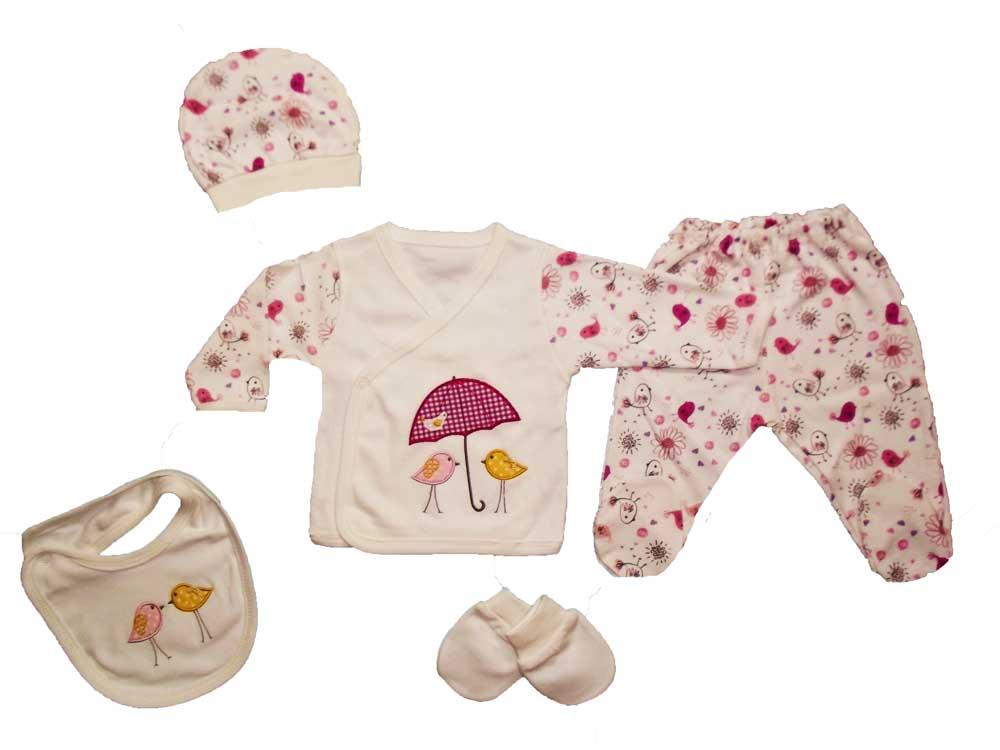 Ciccim Şemsiyeli Kuş Nakışlı 5'li Bebe Zıbın