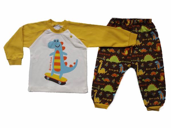 Kayakçı Dinazor Baskılı Bebe Pijama