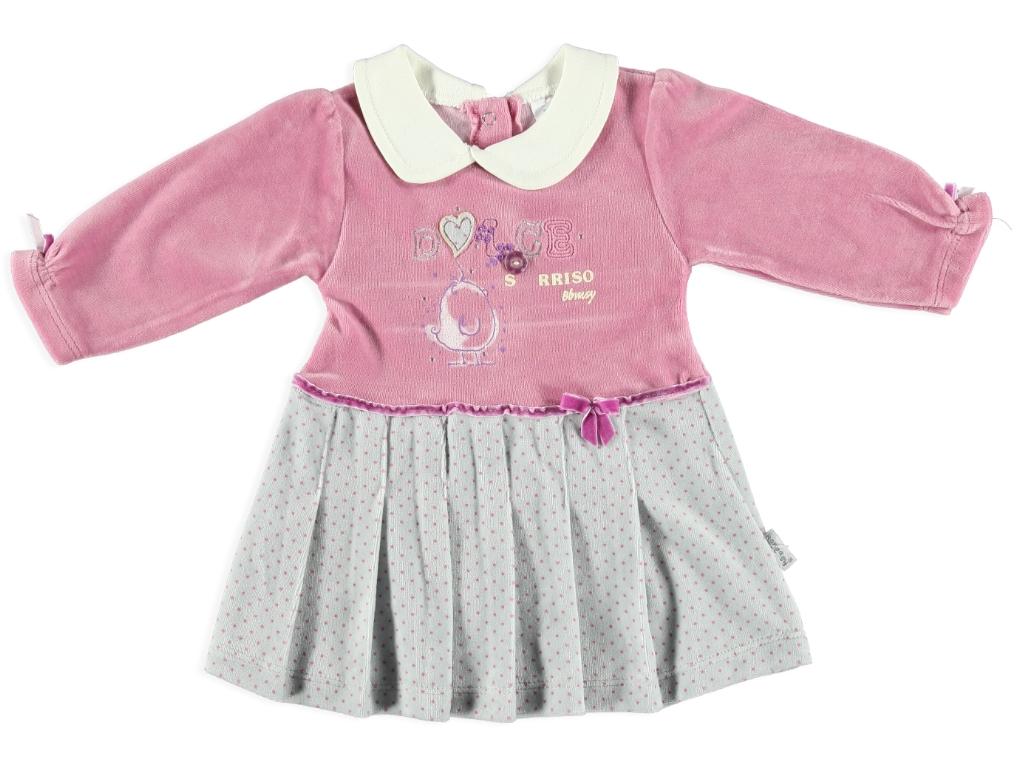 Bebe Yaka Kadife Elbise
