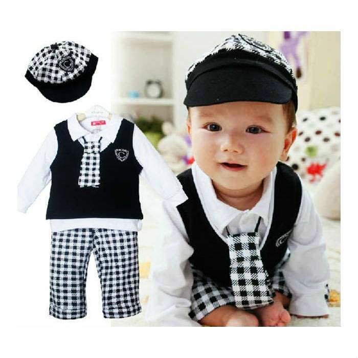 Şapkalı Kravatlı Erkek Bebe Takımı