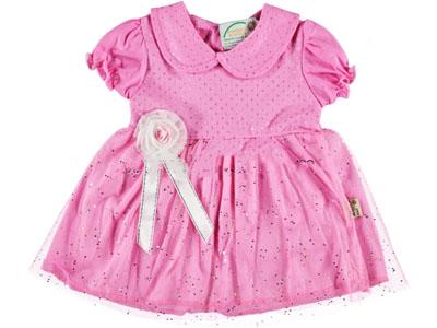 Yakalı Tüllü Bebe Elbise