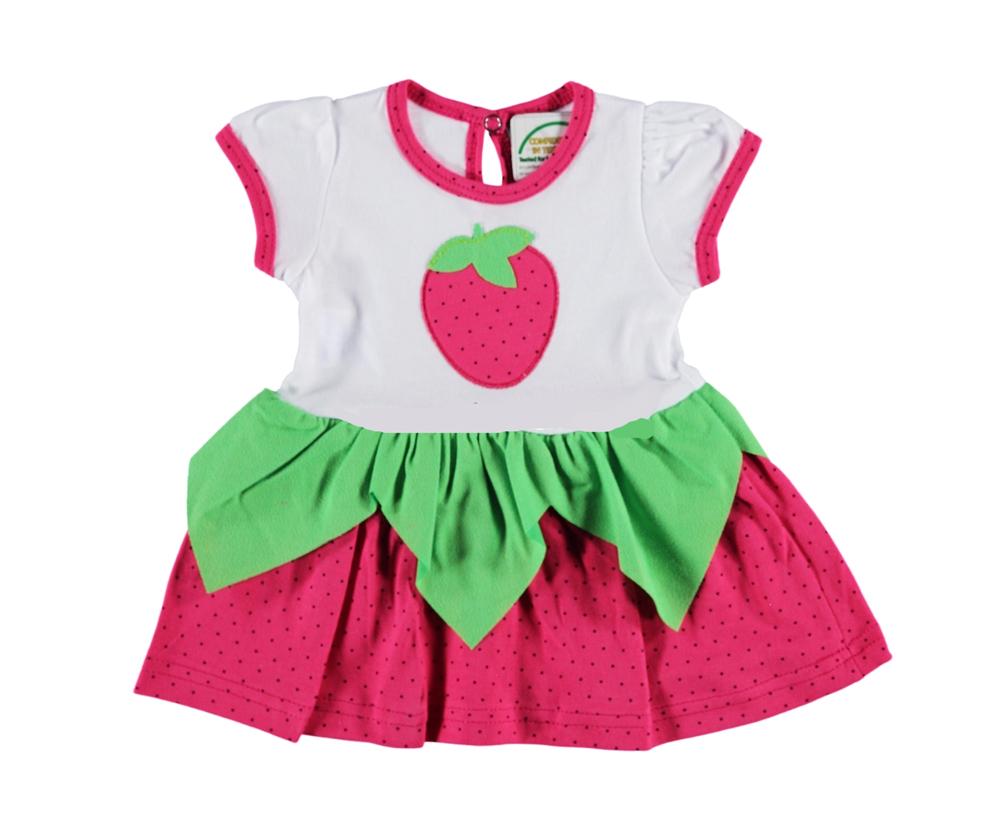Çilek Figürlü Bebe Elbise