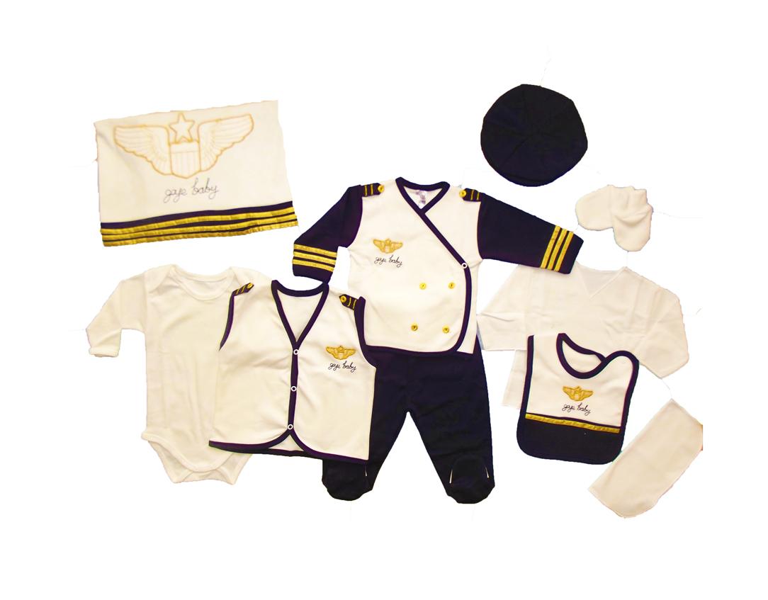 Gaye Pilot Kostüm 10 Parça Bebe Zıbın Seti