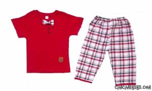 Papyonlu Ekose Pantalonlu  Erkek Takımı