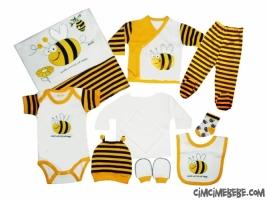 Arı Figürlü 10 Parça Bebe Zıbın Seti