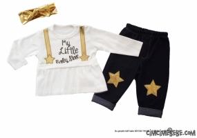 Baby Star Yaldızlı Kot Taytlı Takım