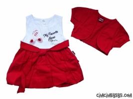 Babet Nakışlı Bolerolu Bebe Elbise