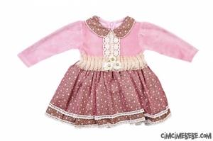 Bebe Yaka Tüllü Kadife Bebe Elbise