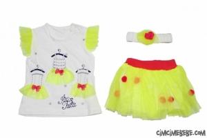 Fosforlu Renkli Tüllü Penye Bebe Takım