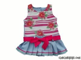 Çiçek Baskılı Kemerli Elbise