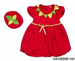 Şapkalı Penye Çilek Kız Elbisesi