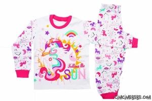 Gökkuşağı Baskılı Kız Pijama Takımı