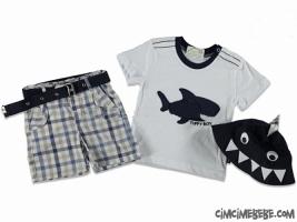 Köpekbalığı Figürlü Şapkalı Ekoseli Takım