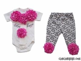 Gül Detaylı Bandanalı Badili Kısa Kollu Bebe Takımı