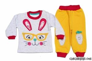 Gözlüklü Tavşan Nakışlı Kışlık Bebe Takımı