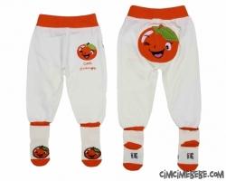 Portakal Baskılı Kendinden Çoraplı Bebe Tek Alt