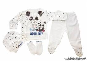 Panda Baskılı 5'li Bebe Zıbın