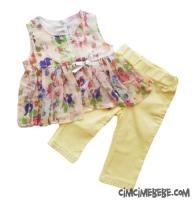 Çiçekli Şifon Bluzlu Takım