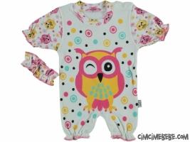 Baykuş Baskılı Bandanalı Kısa Bebe Tulum