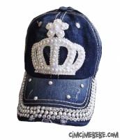 Prenses Taşlı Kot Şapka