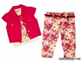 Çiçekli Pantolonlu 3'lü Kız Takım