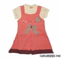 Puanlı Fiyonklu Bebe Elbise