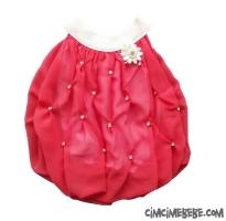 Taşlı Balon Şifon Elbise