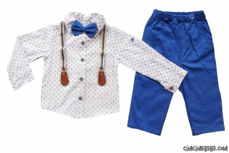 Erkek Çocuk Askılı Papyonlu Şık Takım