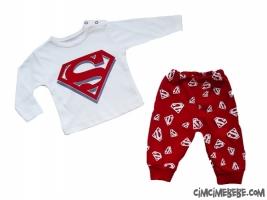 Süper Güç Baskılı Bebe Penye Pijama Takımı