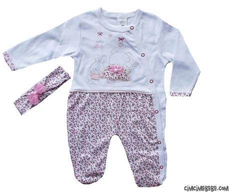 Minik Çiçekli Bandanalı Bebek Tulum