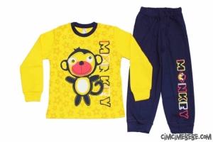 Yıldızlı Maymun Baskılı Penye Erkek Pijama Takımı
