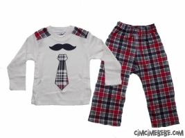 Bıyık Baskılı Ekoseli Erkek Pijama Takımı