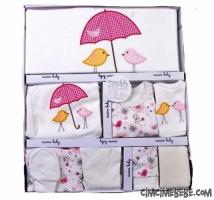 Şemsiyeli Kuş Nakışlı 10'lu Bebe Zıbın Seti